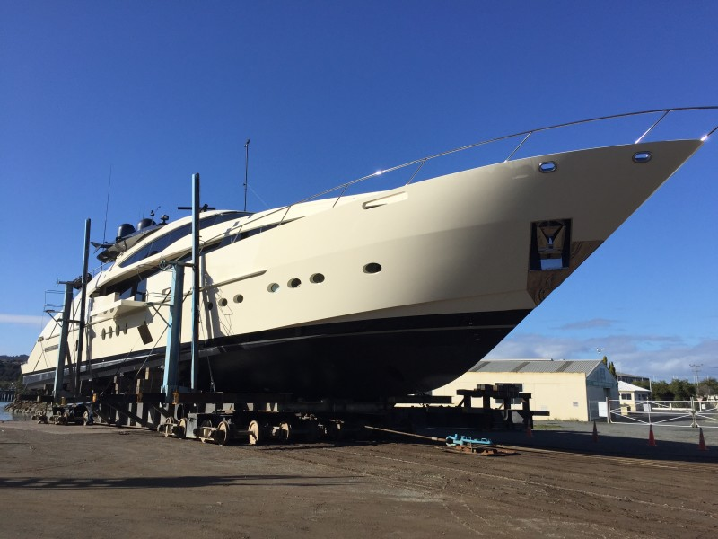 45M Palmer Johnson Superyacht Full repaint at Oceania Marine, North Shipyard, Port Whangarei